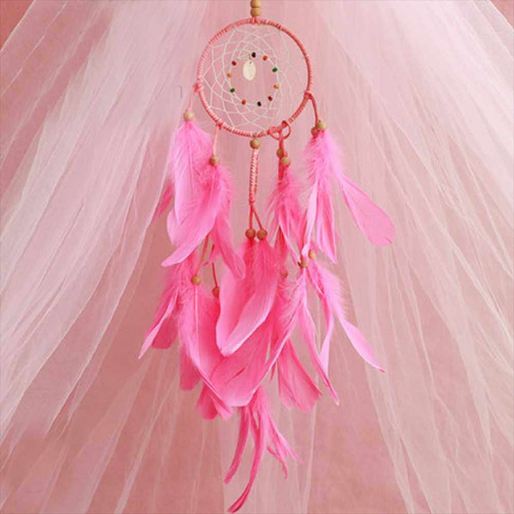 Best Selling LED Dream Catcher Handmade Woven Dreamcatchers for Wall Hanging Decoration with Feather Dream Catcher for Baby Room Bedroom Party Wedding (Pink)