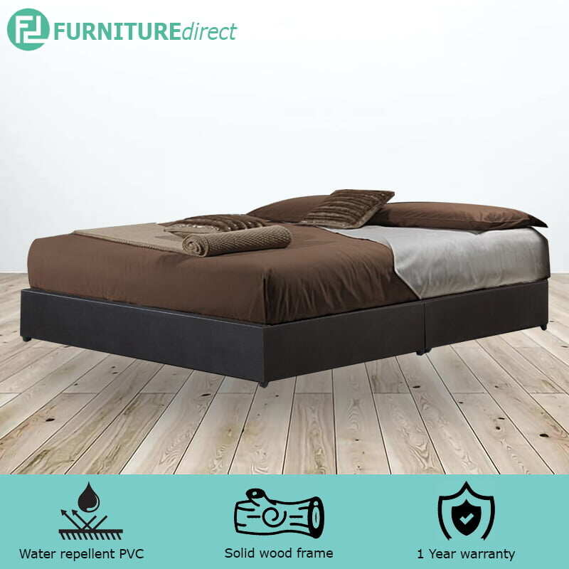 TAD GIOVANNI waterproof PVC divan king bed base – dark brown/white