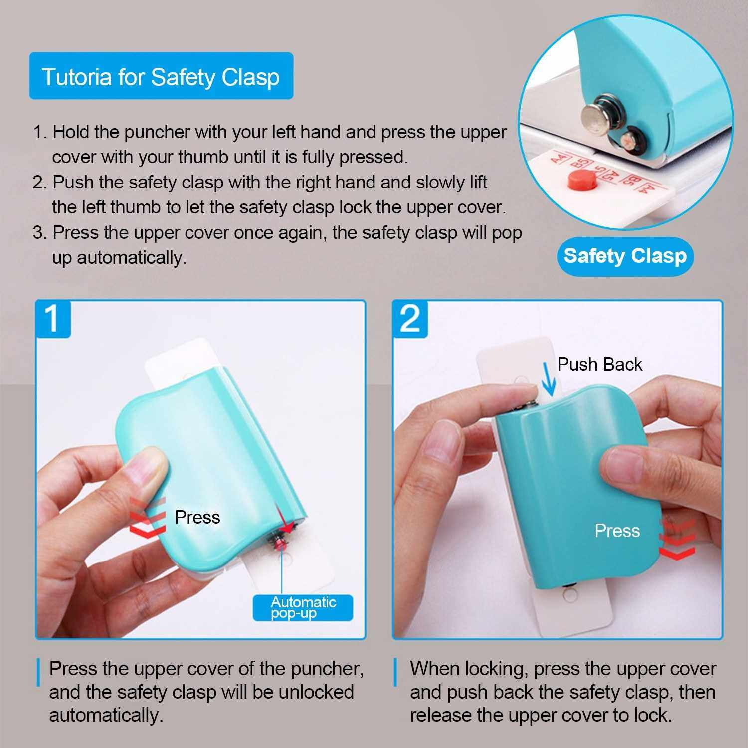 KW-trio 6-Hole Paper Punch Handheld Metal Hole Puncher 5 Sheet Capacity 6mm for A4 A5 B5 Notebook Scrapbook Diary Planner (Blue)