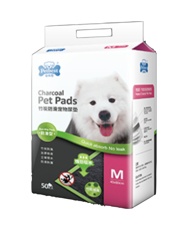 Petbest【宠百思】Non-Slip Charcoal Toilet Training Pet Pads / Wee Wee Pads / Urine Pads 防滑竹炭宠物尿垫 M Size (45cm x 60cm) 50pcs