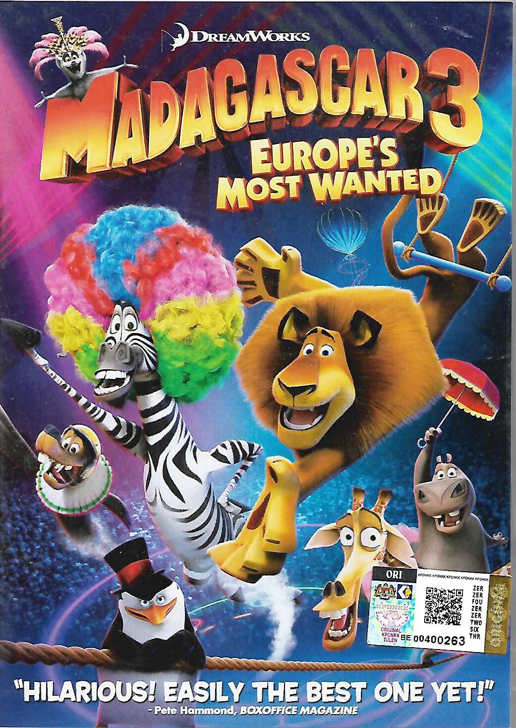 English Animated Movie Madagascar 3 Europe's Most Wanted DVD Dream Works Picture