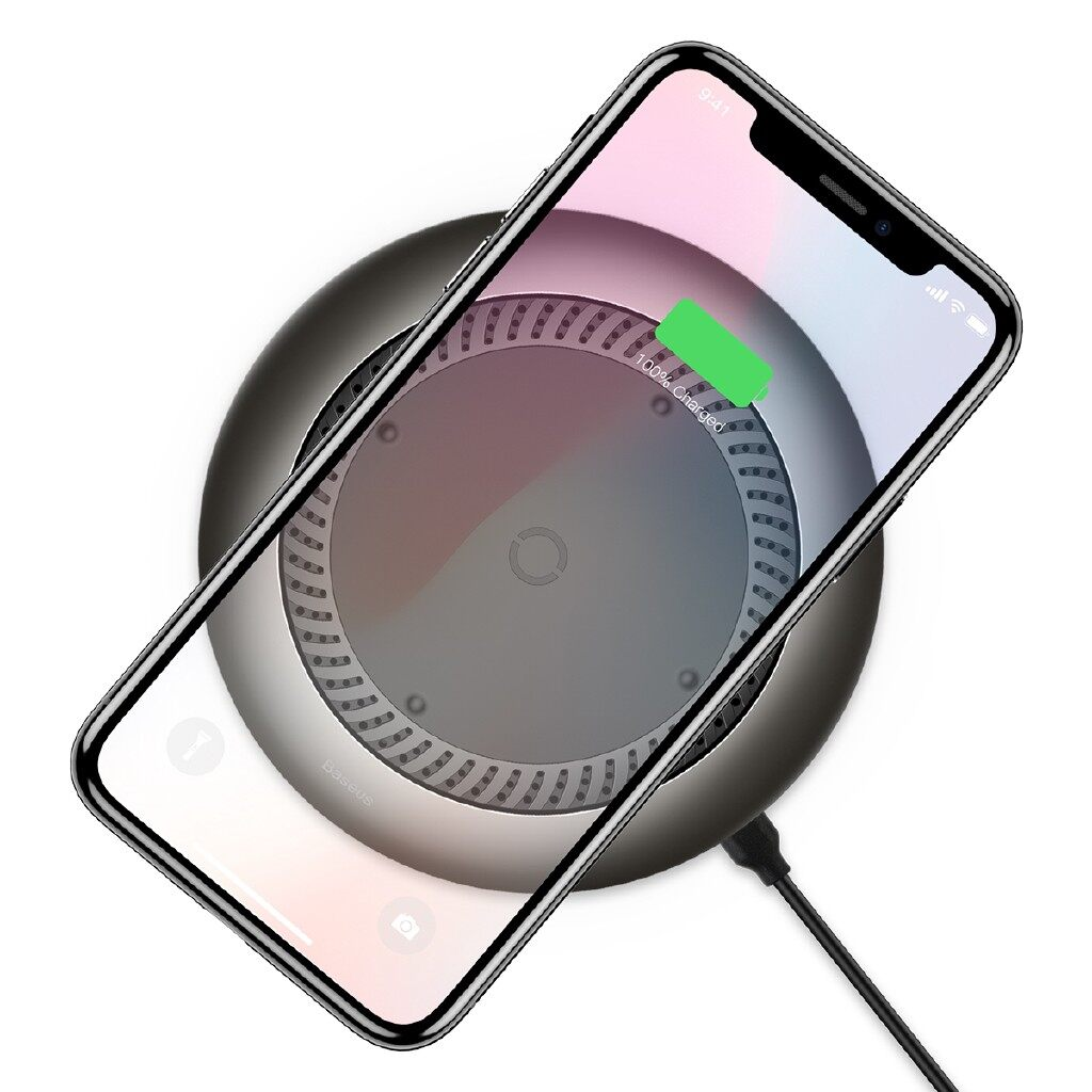 Chargers - Baseus Tornado 10W 7.5W Fast Charge Qi Charger Pad for iPh X 8 Plus S9 - SILVER / BLACK
