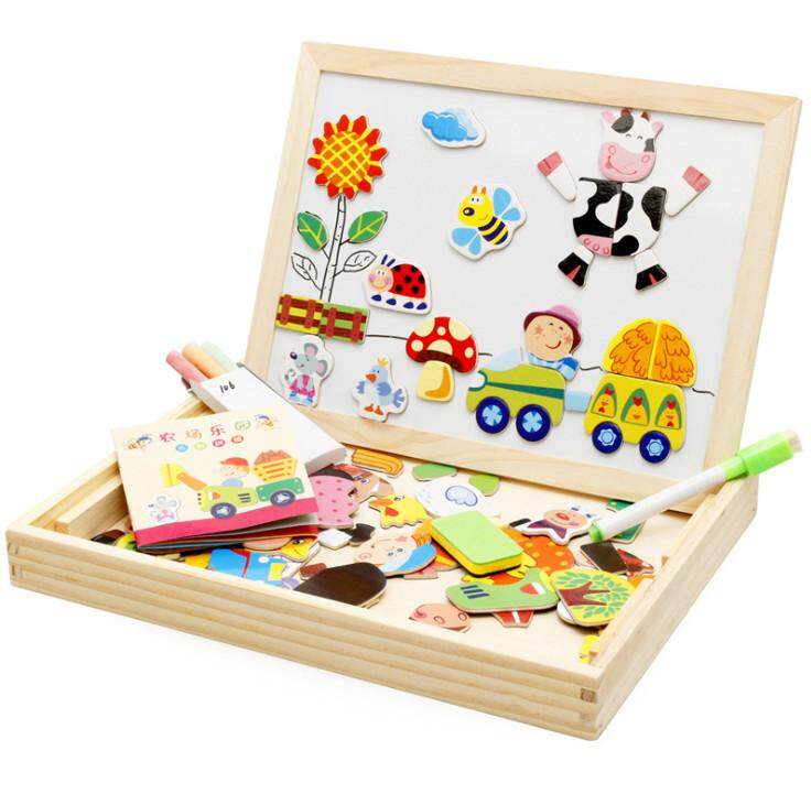 Kid Wooden Learning Creative Magnetic Puzzle Drawing Picture chalkboard Education Toy Gifts