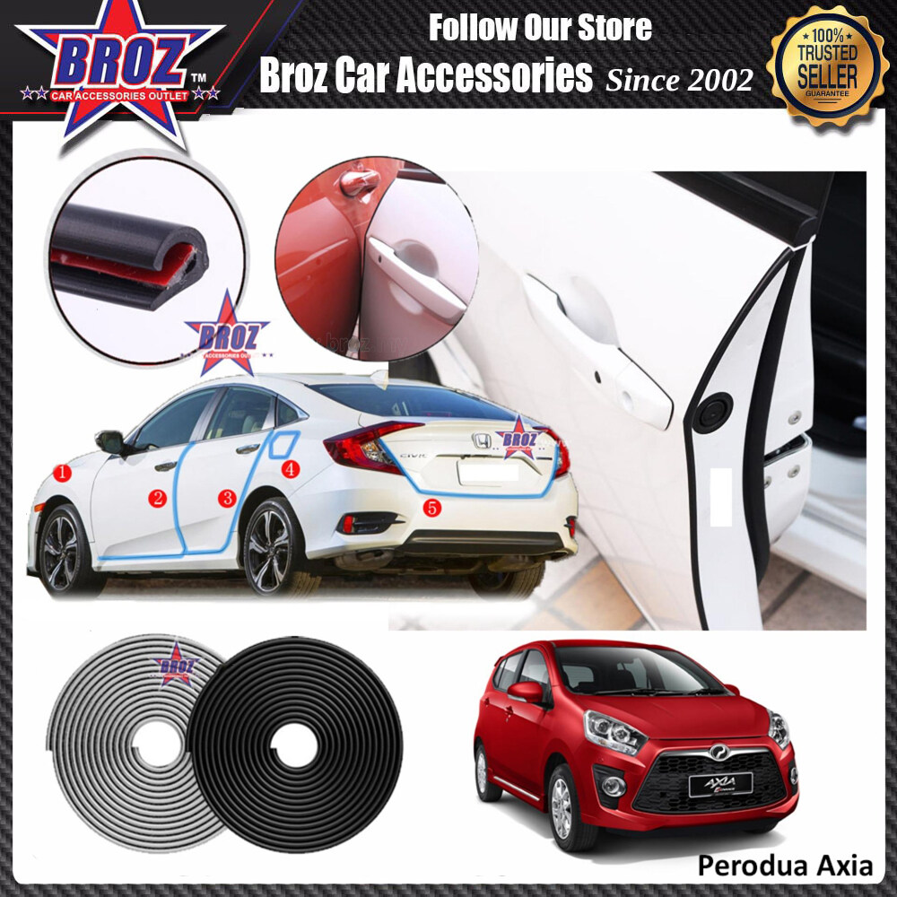 Broz Axia Door Edge Guard Protector Anti Scratch Collision Rubber Strip 16FT/5M (4 Doors) - White
