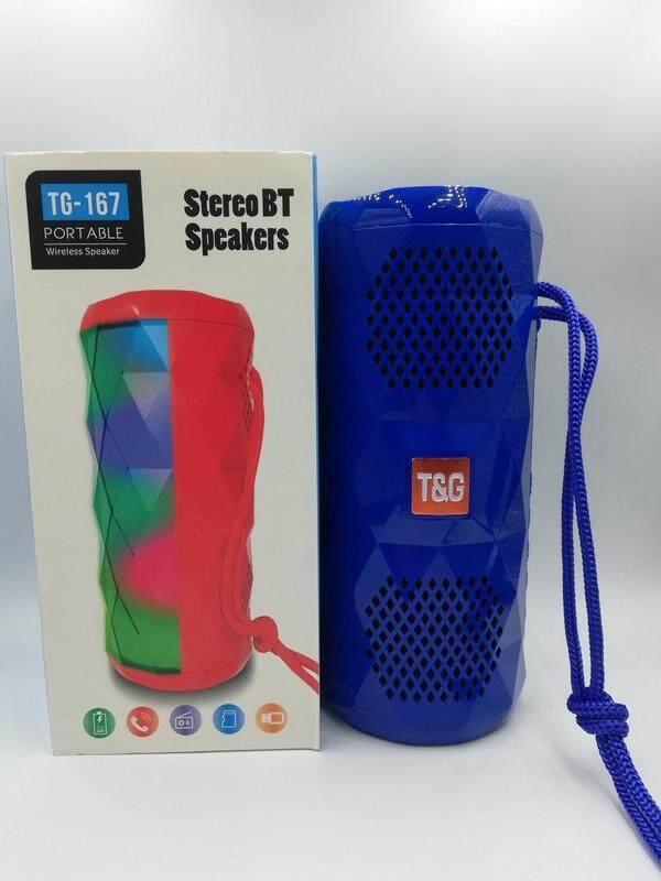 TG-167 TG167 BLUETOOTH PORTABLE WIRELESS SPEAKER WITH LED FLASHIG LIGHT (Fresh Import) High Quality BLUE