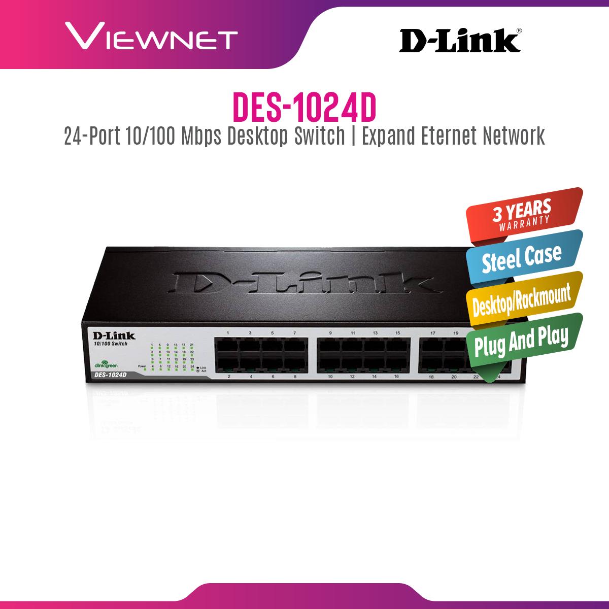 D-Link DES-1024D 24-Port Fast Ethernet Desktop/Rackmount Switch In Metal Casing