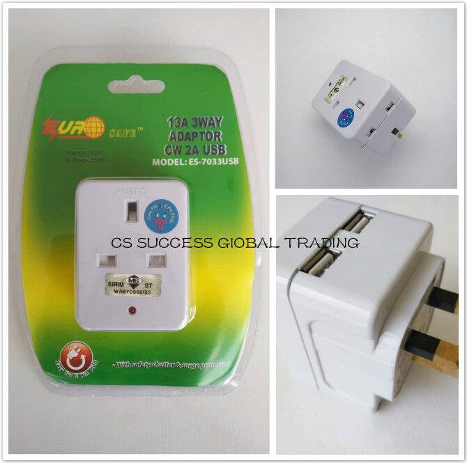 EUROSAFE ES-7033USB 13A 3WAY ADAPTOR CW 2A USB (2 USB Port) Easy For 2 Pin Plug