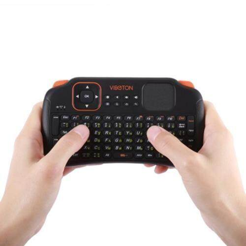 VIBOTON S1 ENGLISH RUSSIAN ALL-IN-ONE 2.4G WIRELESS KEYBOARD AIR MOUSE REMOTE CONTROLLER WITH TOUCHPAD FOR COMPUTER PROJECTOR TV BOX TABLET ETC. (BLACK)