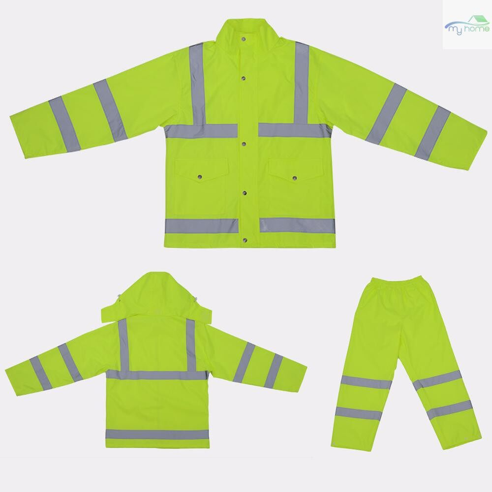 Protective Clothing & Equipment - SFVest High Visibility Reflective Rainwear Suit Thickened Luminous Safety Raincoat Suit Outdoor - YELLOW-XXL / YELLOW-L / YELLOW-M