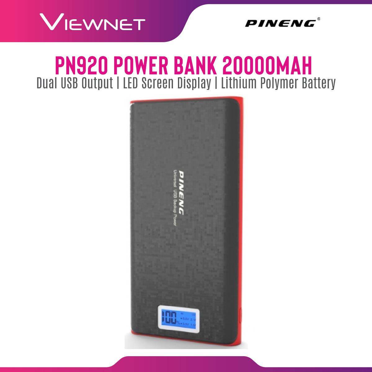 Pineng 20000mAh Power Bank (PN-920) 2-Out, 2.1A, Fast Charging Input 5V 2.0A, Dual Output 5V 1.0A & 2.1A