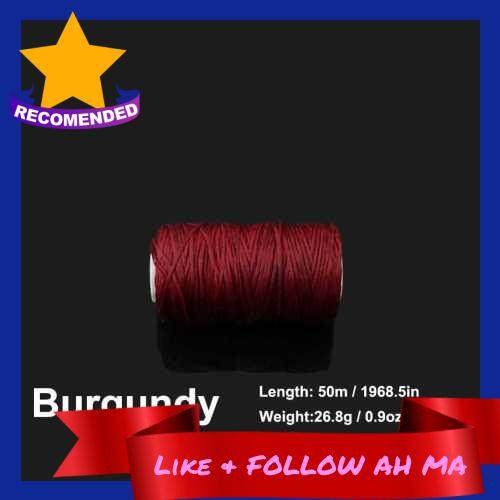 Best Selling 1.0mm 50 Meters Long Flat Waxed Thread Waxed String for Leather Sewing (Burgundy)
