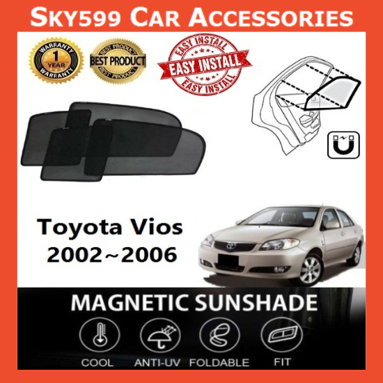 Toyota Vios 2002-2006 Magnetic Sunshade [4 PCS]