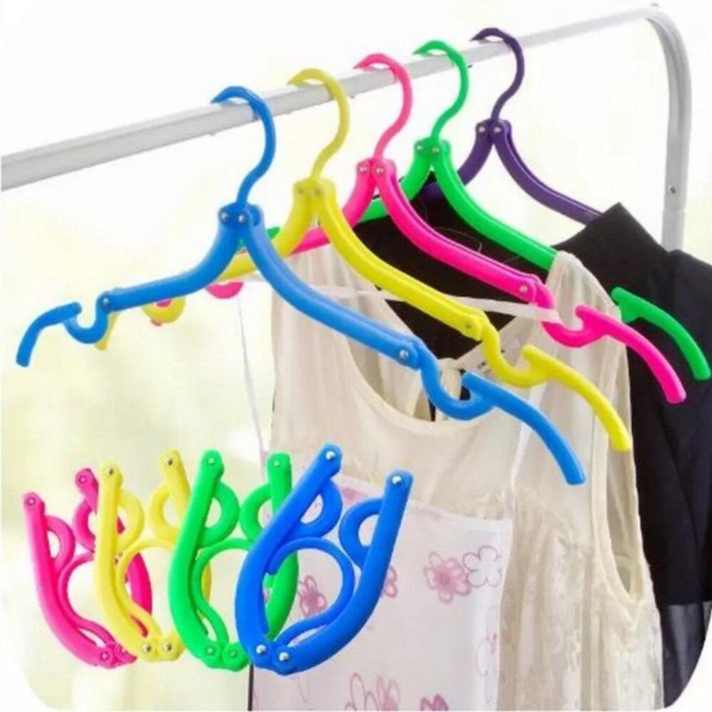 10 Pieces of Foldable Travel Clothes Hangers Coat Hanger with Anti-slip Grooves