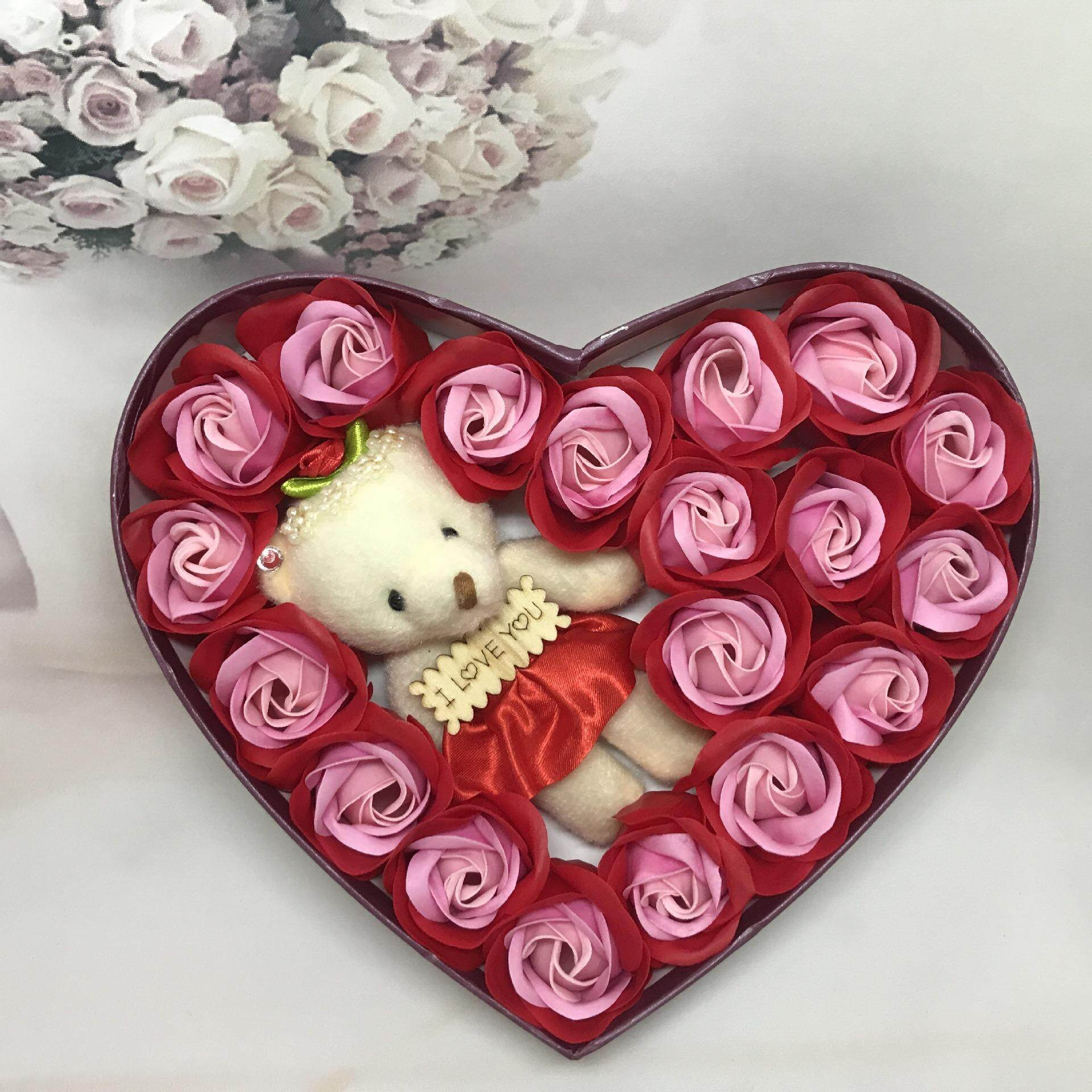 20 pcs Rose Flower Soap Heart Gft Box with Mini Doll Handmade Valentine Day Gift New Year Birthday Mother day Gift Present for Girl Friend