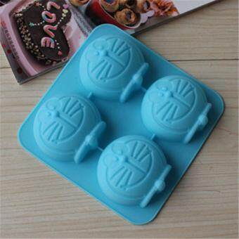 4-cavity Doraemon Silicone Mold | Chocolate Moulds | Jelly Molds |DIY Silicon Soap Molds
