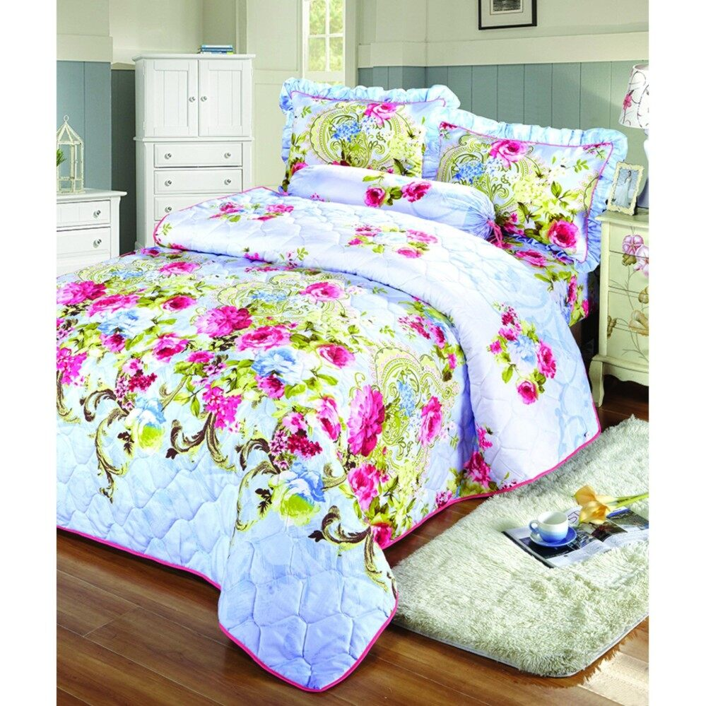 5 PCS KING SIZE 100% COTTON FITTED SET