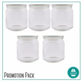 Harga 5 pieces Sebastian Pressed Glass Jar (500ml)