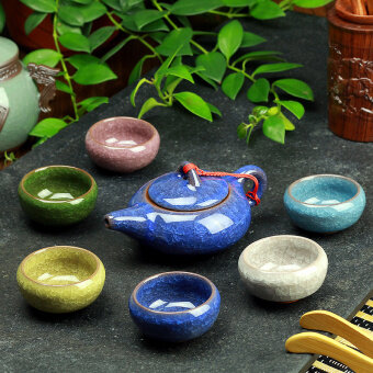 [7 head 6 color Peacock Green] Ice crack ceramic Kung Fu tea set whole set teapot cup tea tray