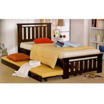 Harga 9326W Wooden Single Bed With Pull out Trundle Bed