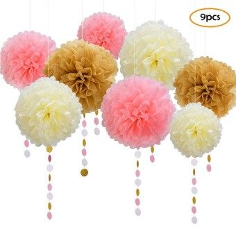9Pcs Flower Balloons Tassel Paper Banner Party Supplies DIY Kits Birthday Wedding Party Decoration Celebration Supplies