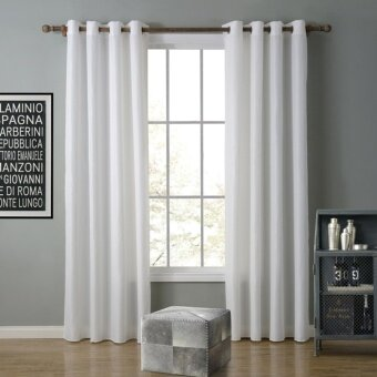A Pair Of (2 Pieces) Solid Color White Window Curtains For Bedroomand  Living Room
