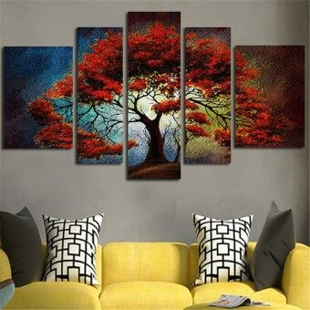 Harga Abstract Art Wall Decor Paintings Canvas Art Poster Landscape RedTree Picture For Living Room Home Decoration 5 Panel without Frame