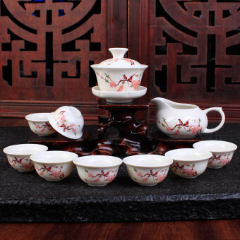 Bao Lin ceramic Kung Fu tea set glass teapot cup tureen tea Ru Icecrack whole sets celadon