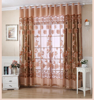 BolehDeals 250x100cm Flower Pattern Jacquard Door Window TulleVoile Curtain- Coffee