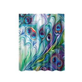 BolehDeals Waterproof Polyester Bathroom Shower Curtain Panel Decor W Hook Peacock 3