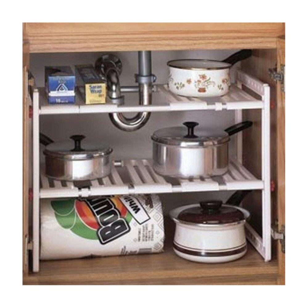 Bolster Store Multipurpose Kitchen Under Sink Storage Extendable Adjustable 3 Layer Rack