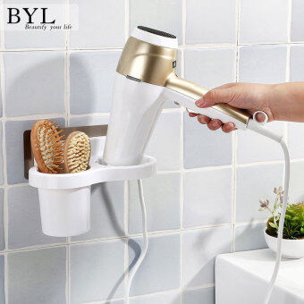 BYL Wall Hair Dryer Holder Rack Bathroom popheko ...