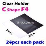 C Shape Clear Folder / Transparent Holder File F4 Size  / C Shape PVC Transparent Document Holder 24pcs Each Pack - I JIMAT