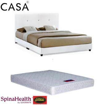 Harga Casa Nice Beige White Queen Bed Frame With Goodnite Spinahealth 8 Inch Queen Posture I-Spring Mattress