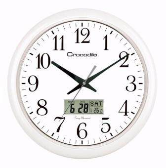 Harga Crocodile Japan Quartz sweep seconds movement Analog with LCD Digital round shape, Temperature wall clock model CWD0550WKS *41 x 41 x 4.5 cm
