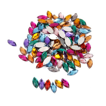 Crystal Horse Eye Shaped Sewing Button Decor Diy Crafts 100pieces Mixed Color