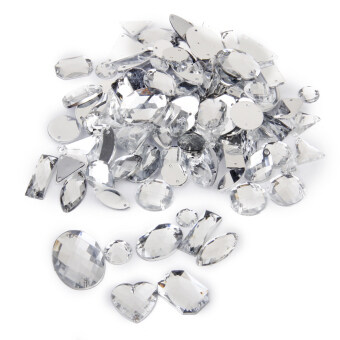 Crystal Sewing Button Decoration Diy Crafts Mixed Styles 100pieces Silver