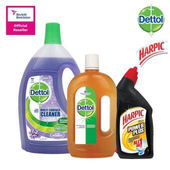 Dettol Multi Action Cleaner Lavender 2.5Litre + Dettol Antiseptic Liquid 1L + Harpic All-In-One Citrus 450Ml Twin Pack