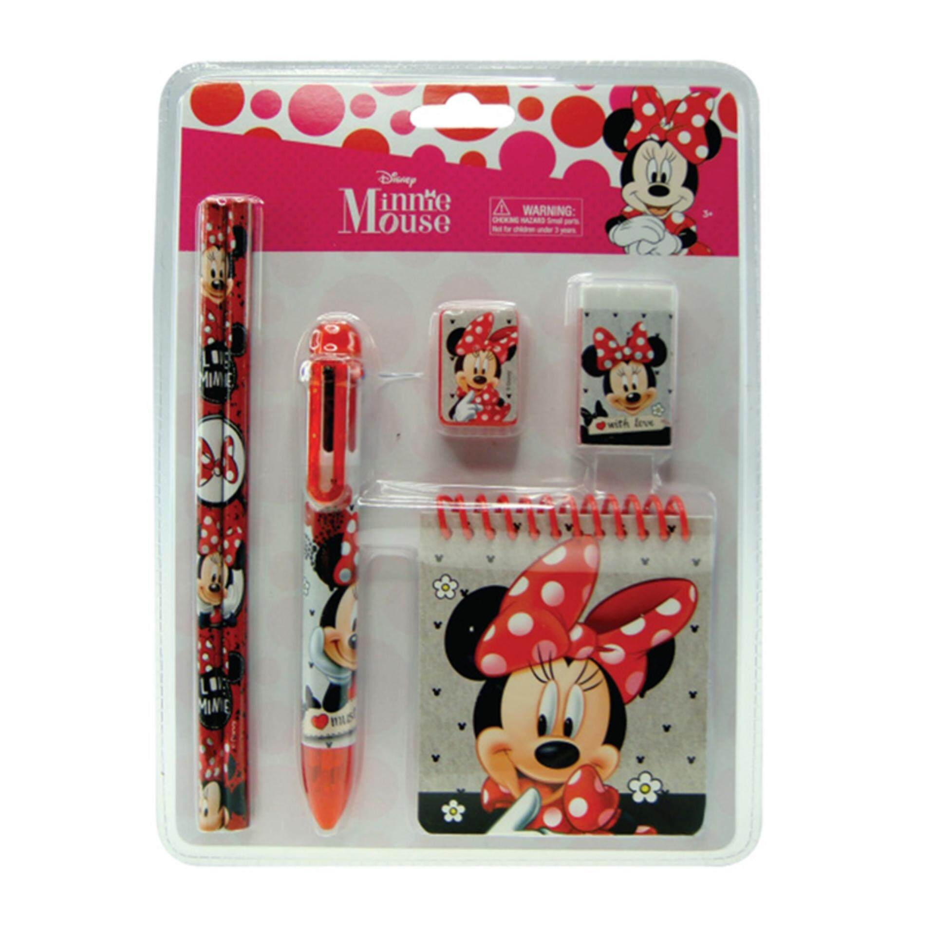 Disney Minnie Stationery Set With Note Pad - Pink Colour