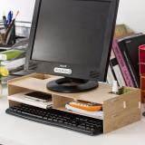 DIY Wooden Eco Friendly Monitor Riser Storage Organizer (Wood color)
