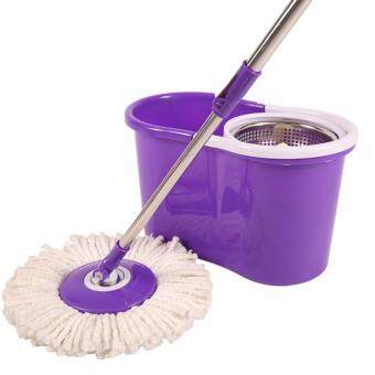 Harga Easy Spin Mop Stainless Steel with 2 Microfibre Mop Heads (Purple/White)