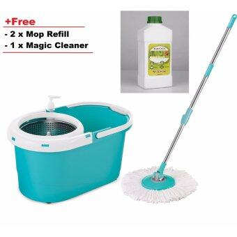 Harga Easy Spin Mop with stainless steel bucket with free 2 mop refill+ 1MAGIC CLEANER