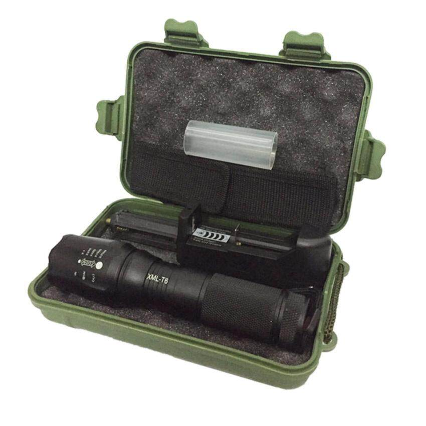 Harga FFY X800 Zoomable XML T6 LED Flashlight Torch +US Charger+Case