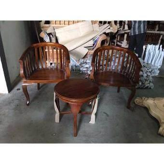 Fully Solid Wood Chair Set 2+1 (Dark Brown)