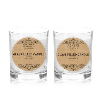 Harga GE Candle Works [Set of 2] Unscented Glass Filled Candle 2oz(White)