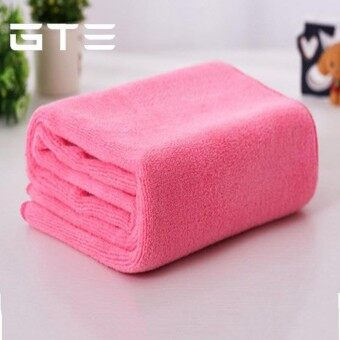 GTE 2pcs Absorbent Microfiber Towel Bath Quick Drying Washcloth Bath Wet Body (140cmx70cm) - Pink