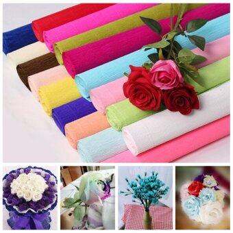Harga Handmade Diy Wrapping Paper Craft Decor 1 Roll DIY Flower MakingCrepe Papers Wrapping Flowers Packing Material 250x50cm XHH8133-8