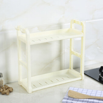 Home kitchen supplies shelving rack storage seasoning material supplies 2 layer kitchen wall floor seasoning rack shelf