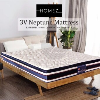 Harga Homez 3V Neptune 11.5 inch Pillow Top  Double Posture Spring Mattress - Queen Mattress