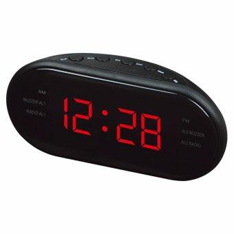 Harga BH Modern AM/FM LED Clock Radio Electronic Desktop Alarm Clock Digital Table Clocks Snooze Function For Home Office Gift
