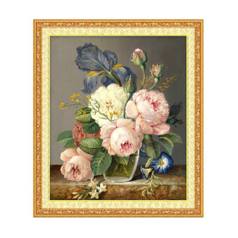 Harga DIY Charming Peony Cross Stitch Kit Embroidery Home Decor